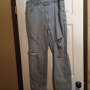 Vintage Bugle Boy Distressed Ragged Jeans 38X32